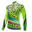 povoljno Biciklističke majice-CYCOBYCO Žene Dugih rukava Biciklistička majica Zelen Leopard Veći konfekcijski brojevi Bicikl Sportska majica Biciklistička majica Majice Quick dry Reflektirajuće trake Sportski Poliester 100