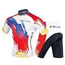 Χαμηλού Κόστους Σετ Μπλούζες & Σορτσάκια/Παντελόνια Ποδηλασίας-Realtoo Ανδρικά Κοντομάνικο Φανέλα και σορτς ποδηλασίας Κόκκινο / Άσπρο Ποδήλατο Ρούχα σύνολα 3D Pad Αθλητισμός Πολυεστέρας Spandex Γεωμετρικό Ποδηλασία Βουνού Ποδηλασία Δρόμου Ρούχα / Ελαστικό