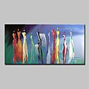 billige Abstrakte malerier-Hang malte oljemaleri Håndmalte - Abstrakt Mennesker Moderne Inkluder indre ramme / Stretched Canvas