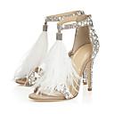 Χαμηλού Κόστους Γυναικεία παπούτσια γάμου-Γυναικεία Γαμήλια παπούτσια Τακούνι Στιλέτο Ανοικτή μύτη Τεχνητό διαμάντι / Φτερό / Αγκράφα Σουέτ Πρωτότυπο / Βασική Γόβα Καλοκαίρι Λευκό / Γάμου / Πάρτι & Βραδινή Έξοδος / Πάρτι & Βραδινή Έξοδος