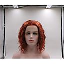 povoljno Sintetičke perike s čipkom-Prednja perika od sintetičkog čipke Kovrčav Stepenasta frizura Lace Front Perika Kratko Watermelon Red Sintentička kosa Žene kovrčav Crvena