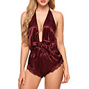 cheap Panties-Women's Satin & Silk / Bodysuits Nightwear Solid Colored / Jacquard White Black Wine M L XL / Halter Neck