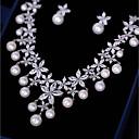 povoljno Komplet nakita-Žene Kubični Zirconia Komplet nakita Viseće naušnice Ogrlice s privjeskom Cvijet Moda Naušnice Jewelry Obala Za Vjenčanje Party