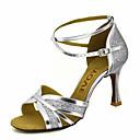 baratos Sapatos de Dança Latina-Mulheres Sapatos de Dança Glitter / Courino Sapatos de Dança Latina / Sapatos de Salsa Presilha / Cadarço de Borracha Sandália / Salto Salto Personalizado Personalizável Dourado / Preto / Prateado
