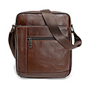 cheap Abstract Paintings-Men's Zipper Genuine Leather Shoulder Messenger Bag Black / Brown