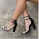 povoljno Modne naušnice-Žene Sandale Sandale s pete Kockasta potpetica PU Udobne cipele Ljeto Plava / Leopard / Burgundac / Poluga pete / EU39