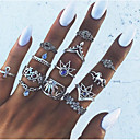 billige Fashion Rings-Dame Knokering Ring Set Midiringe 13pcs Sølv Legering damer Vintage Europeisk Fest Daglig Smykker Blomst