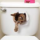 זול הדפסים-מדבקות למקרר מדבקות לשירותים - מדבקות קיר חיות 3D סלון חדר שינה מקלחת מטבח חדר אוכל משרד