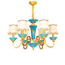 Χαμηλού Κόστους Σχέδιο στυλ κεριών-ZHISHU 6-Light Κηροπήγιο Πολυέλαιοι Uplight Ορείχαλκος Μέταλλο Ύφασμα Δημιουργικό, Ρυθμιζόμενο 110-120 V / 220-240 V Περιλαμβάνεται λαμπτήρας