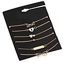 billiga Modehalsband-6pcs Kedje & Länk Armband Multi lager Oändlighet damer Multi lager Metall Armband Smycken Guld Till Street Bar