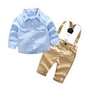 ราคาถูก ผักและผลไม้-ทารก เด็กผู้ชาย พื้นฐาน ทุกวัน / โรงเรียน สีพื้น แขนยาว ปกติ ชุดเสื้อผ้า สีฟ้า / Toddler