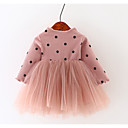 Χαμηλού Κόστους Φορέματα για κορίτσια-Μωρό Κοριτσίστικα Βασικό Καθημερινά Patchwork Patchwork Μακρυμάνικο Κανονικό Πάνω από το Γόνατο Βαμβάκι Φόρεμα Μαύρο / Νήπιο