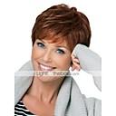 Χαμηλού Κόστους Χωρίς κάλυμμα-Ανθρώπινη Τρίχα Περούκα Κοντό Κυματιστό Βαθύ Κύμα Κούρεμα νεράιδας Κούρεμα με φιλάρισμα Σύντομα Hairstyles 2019 Με αφέλειες Berry Κυματιστό Ανοικτό Καφέ Πλευρικό μέρος Χωρίς κάλυμμα Γυναικεία