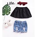 Χαμηλού Κόστους Κούκλες σαν αληθινές-Μωρό Κοριτσίστικα Βασικό Μονόχρωμο Αμάνικο Κοντό Μπλούζα Μαύρο / Νήπιο