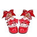 זול שמלות לוליטה-נעליים לוליטה גותי לוליטה מתוקה לוליטה קלאסית ומסורתית לוליטה נסיכה עקב עבה נעליים תחרה תפורה סרט פרפר 6.5 cm CM אדום עבור בגדי ריקוד נשים PU תחפושות ליל כל הקדושים