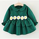 Χαμηλού Κόστους Παιδικές μπότες-Μωρό Κοριτσίστικα Ενεργό Καθημερινά Φλοράλ Patchwork Μακρυμάνικο Κανονικό Πάνω από το Γόνατο Βαμβάκι Φόρεμα Πράσινο του τριφυλλιού / Νήπιο