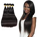 billiga Förslutning ochframsida-4 paket Brasilianskt hår Rak Äkta hår Human Hår vävar Hårförlängning av äkta hår Människohår förlängningar / 8A