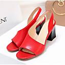 ราคาถูก รองเท้าแตะผู้หญิง-สำหรับผู้หญิง รองเท้าแตะ ส้นหนา เปิดนิ้ว แน๊บป้า Leather ความสะดวกสบาย ฤดูร้อน สีดำ / ขาว / แดง