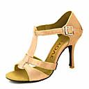 ราคาถูก รองเท้าแบบลาติน-สำหรับผู้หญิง รองเท้าเต้นรำ ซาติน / ไหม ลาติน / Salsa หัวเข็มขัด / ผูกริบบิ้น รองเท้าแตะ / ส้น ส้นแบบกำหนดเอง ตัดเฉพาะได้ บรอนซ์ / Almond / Nude / Performance / หนังสัตว์ / มืออาชีพ / EU39