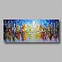 billiga Abstrakta målningar-Hang målad oljemålning HANDMÅLAD - Abstrakt Landskap Samtida Inkludera innerram / Sträckt kanfas