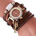 billiga Kvarts klockor-Dam Armbandsklocka Diamond Watch wrap watch Quartz Vadderat PU-läder Svart / Vit / Blå Vardaglig klocka Vackert Diamant Imitation Ramtyp Bohemisk Elegant - Röd Grön Blå Ett år Batteriliv