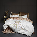 povoljno Cvjetni poplune-prekrivački prekrivači 100% egipatski pamuk luksuzni vez sjeni štikla 4pcs posteljina / kraljica, king size (1 pokrivač pokrivač, 1 ravni pokrivač, 2 srama)