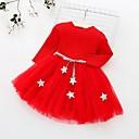 Χαμηλού Κόστους Φορέματα για κορίτσια-Μωρό Κοριτσίστικα Ενεργό Γεωμετρικό / Χριστούγεννα Μακρυμάνικο Βαμβάκι Φόρεμα Ανθισμένο Ροζ / Νήπιο