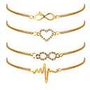 billiga Modehalsband-4pcs Dam Kedje & Länk Armband Hjärta Hjärtfrekvans damer Klassisk Mode Guldpläterad Armband Smycken Guld Till Dagligen Kontor & Karriär