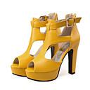 ราคาถูก รองเท้าแตะผู้หญิง-สำหรับผู้หญิง รองเท้าแตะ รองเท้าส้นสูง ส้นหนา ที่สวมนิ้วเท้า หัวเข็มขัด PU ปั๊มพื้นฐาน ฤดูร้อน / ฤดูใบไม้ร่วง & ฤดูหนาว ขาว / สีดำ / สีเหลือง / พรรคและเย็น / พรรคและเย็น