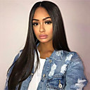 cheap Human Hair Wigs-Remy Human Hair Unprocessed Human Hair Lace Front Wig With Ponytail Kardashian style Brazilian Hair Straight Natural Wig 130% Density with Baby Hair Natural Hairline 100% Virgin Unprocessed Bleached