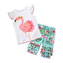 billige Sett med pikeklær-Baby Jente Fritid / Aktiv Daglig / Ferie Flamingos Trykt mønster Trykt mønster Kortermet Normal Tøysett Hvit
