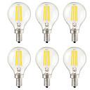 ราคาถูก หลอดโคมไฟLED-KWB 6 ชิ้น 4 W หลอดไฟLED Filament 400 lm E14 E26 / E27 G45 4 ลูกปัด LED SMD ตกแต่ง ขาวนวล 220-240 V