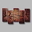 povoljno Apstraktno slikarstvo-Hang oslikana uljanim bojama Ručno oslikana - Sažetak Pejzaž Comtemporary Uključi Unutarnji okvir / Pet ploha / Prošireni platno