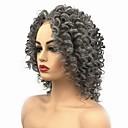 Χαμηλού Κόστους Πλεξούδες μαλλιών-Συνθετικές μπροστινές περούκες δαντέλας Σγουρά Μέσο μέρος Δαντέλα Μπροστά Περούκα Μεσαίο Γκρι Συνθετικά μαλλιά Γυναικεία Περούκα αφροαμερικανικό στυλ Για μαύρες γυναίκες Σκούρο γκρι StrongBeauty