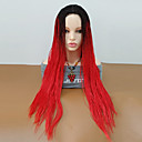 Χαμηλού Κόστους Ιδιαίτερες συνθετικές περούκες με δαντέλα-Συνθετικές Περούκες Σγουρά Πλεξίδα Περούκα Μακρύ Μαύρο / Κόκκινο Συνθετικά μαλλιά Γυναικεία Μαλλιά με ανταύγειες Στη μέση Περούκα κοτσιδάκια Κόκκινο