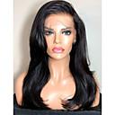 povoljno Perike s ljudskom kosom-Remy kosa Lace Front Perika Stražnji dio stil Brazilska kosa Ravan kroj Perika 130% Gustoća kose s dječjom kosom Prirodna linija za kosu Izbijeljeni čvorovi Žene Dug Perike s ljudskom kosom