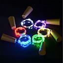 ราคาถูก สายไฟ LED-6 ชิ้น 15-led 0.75 เมตรลวดทองแดงเชือกแสงที่มีจุกขวดสำหรับงานฝีมือแก้วขวดนางฟ้าวาเลนไทน์โคมไฟตกแต่งงานแต่งงานพรรค