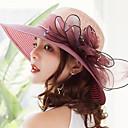 Χαμηλού Κόστους Χαμηλές γόβες για έφηβες-Γυναικεία Kentucky Derby Μονόχρωμο Ενεργό Γιορτή Άχυρο Δαντέλα Με Βολάν-Ψάθινο καπέλο Καλοκαίρι Γκρίζο Φούξια Κρασί