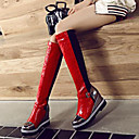 ราคาถูก รองเท้าบูตผู้หญิง-สำหรับผู้หญิง บูท รองเท้าบู้ทระดับเข่า รองเท้าส้นตึก ปลายกลม หัวเข็มขัด PU บู้ทสูงระดับเข่า Fashion Boots ฤดูใบไม้ร่วง & ฤดูหนาว สีดำ / สีเทาเข้ม / แดง / ลายบล็อคสี