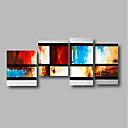 billige Abstrakte malerier-Hang malte oljemaleri Håndmalte - Abstrakt Landskap Moderne Inkluder indre ramme / Fire Paneler / Stretched Canvas