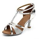 Χαμηλού Κόστους Παπούτσια χορού λάτιν-Γυναικεία Παπούτσια Χορού Συνθετικά Παπούτσια χορού λάτιν Κόψιμο Πέδιλα / Τακούνια Τακούνι καμπάνα Εξατομικευμένο Ασημί
