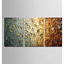 Χαμηλού Κόστους Πίνακες με Λουλούδια/Φυτά-ζωγραφισμένο στο χέρι σύγχρονη αφηρημένη τέχνη καμβά παγώνι πίνακες τοίχο σπίτι διακόσμηση τρία πάνελ έτοιμα να κρεμάσουν