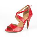 baratos Sapatos de Dança Latina-Mulheres Sapatos de Dança Couro Sintético Sapatos de Dança Latina Salto Salto Alto Magro Personalizável Vermelho / Espetáculo / Ensaio / Prática
