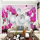 Χαμηλού Κόστους Τοιχογραφία-λεπτή ορχιδέα κύκλο φόντο έθιμο wallcovering 3d τοιχογραφία ταπετσαρία κατάλληλο για σαλόνι τραπεζαρία