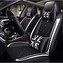 billige Landskapsmalerier-svart hvit bilstoldeksel med britisk stil med 2 nakkestøtter, 2 midjeputer og 1 ratthylse for 5 seters bil / pu skinn og issidematerialer / kollisjonspute / justerbar