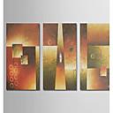 Χαμηλού Κόστους Αφηρημένοι Πίνακες-Hang-ζωγραφισμένα ελαιογραφία Ζωγραφισμένα στο χέρι - Αφηρημένο Μοντέρνα Περιλαμβάνει εσωτερικό πλαίσιο / Τρίπτυχα / Επενδυμένο καμβά