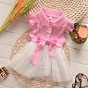 Χαμηλού Κόστους Φορέματα για κορίτσια-Μωρό Κοριτσίστικα Βασικό Γεωμετρικό Κοντομάνικο Βαμβάκι Φόρεμα Ανθισμένο Ροζ / Νήπιο