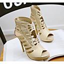 ราคาถูก รองเท้าแตะผู้หญิง-สำหรับผู้หญิง รองเท้าแตะ ส้น Stiletto PU ความสะดวกสบาย ฤดูร้อน สีทอง / ขาว / สีดำ