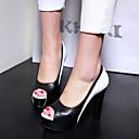 ราคาถูก รองเท้าส้นสูงผู้หญิง-สำหรับผู้หญิง รองเท้าส้นสูง ส้นหนา ที่สวมนิ้วเท้า PU ปั๊มพื้นฐาน ฤดูใบไม้ร่วง & ฤดูหนาว สีดำ / ฟ้า / พรรคและเย็น / พรรคและเย็น