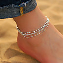 cheap Body Jewelry-Women's Cubic Zirconia Ankle Bracelet feet jewelry Layered Stacking Stackable Drop Cheap Ladies Simple Korean Fashion everyday Anklet Jewelry Silver For Daily Going out
